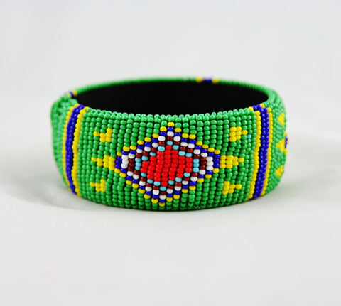 African Beaded Cuff Bracelet Green Red Yellow Blue - culturesinternational  - 1