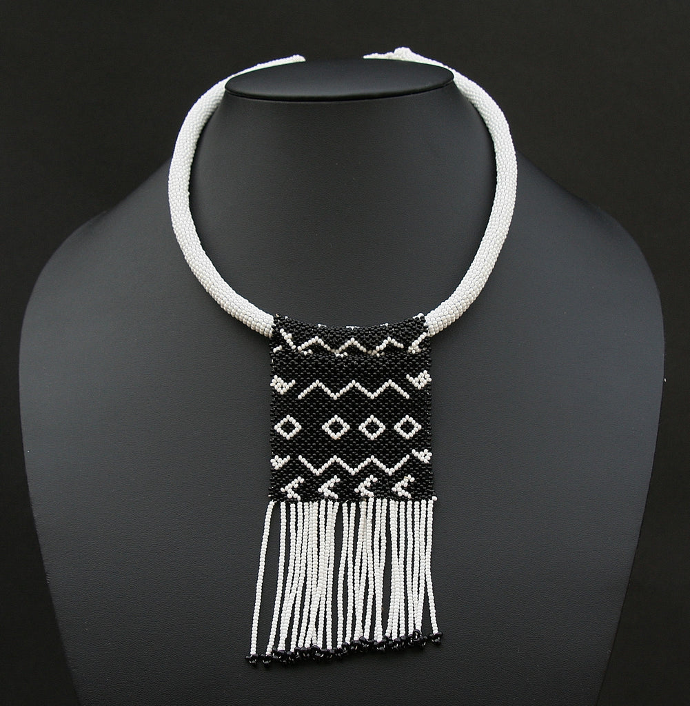 Zulu Love Letter Choker Necklace Black and White - Cultures International From Africa To Your Home