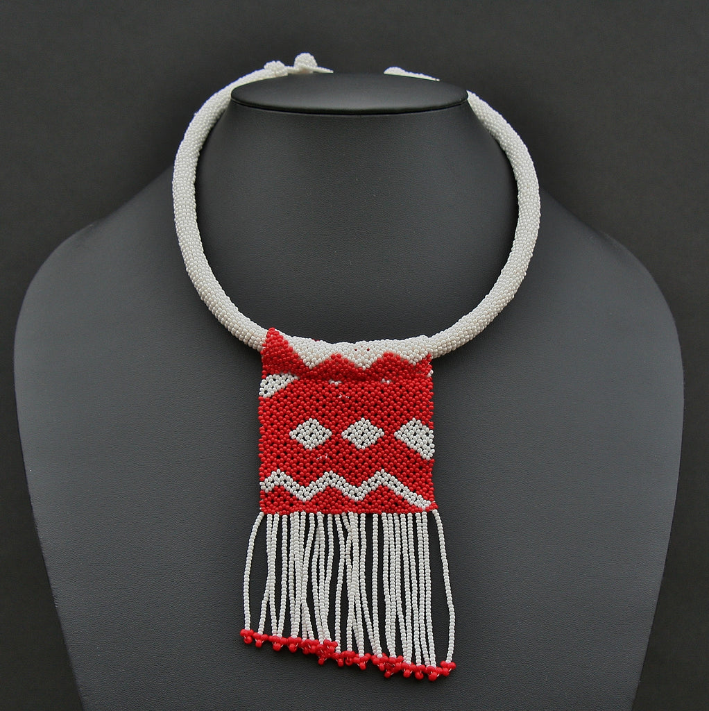 African Zulu Love Letter Beaded Necklace Red on White - culturesinternational  - 1