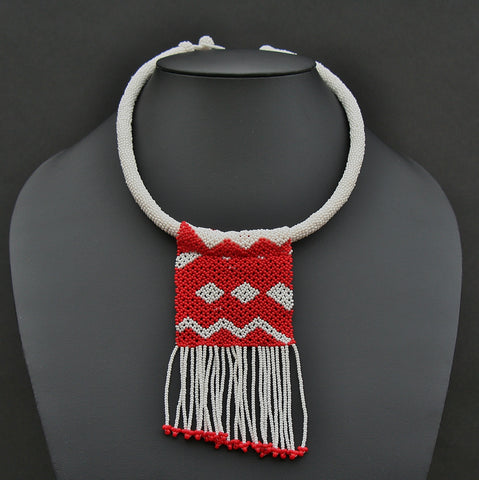 African Zulu Love Letter Beaded Necklace Red on White - Cultures International From Africa To Your Home