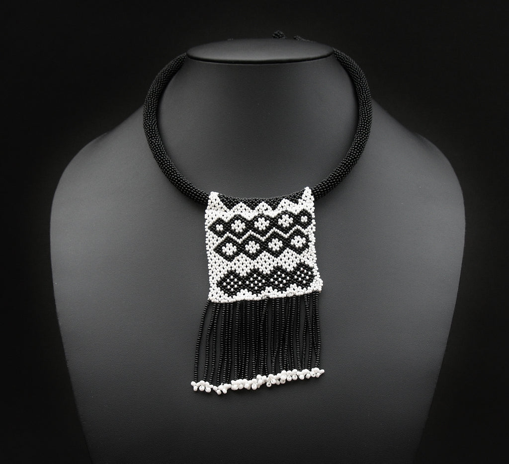 African Zulu Love Letter Beaded Choker Necklace Black & White - Cultures International From Africa To Your Home