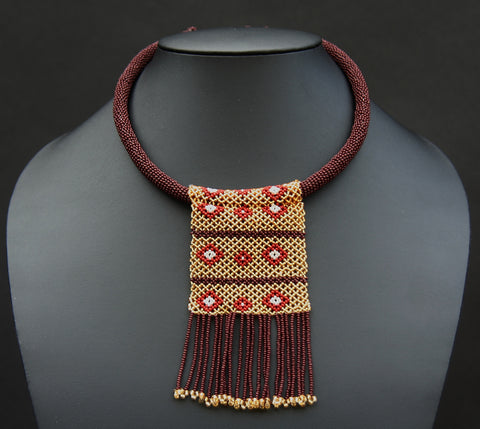 Zulu Love Letter Beaded Choker Necklace Mahogany/Brown/Gold - Cultures International From Africa To Your Home