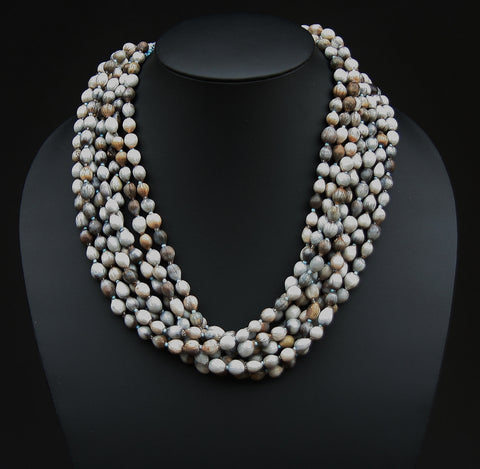 African Imfibinga/Job'sTears Seed Necklace Natural Gray with Bead Closure - culturesinternational  - 1