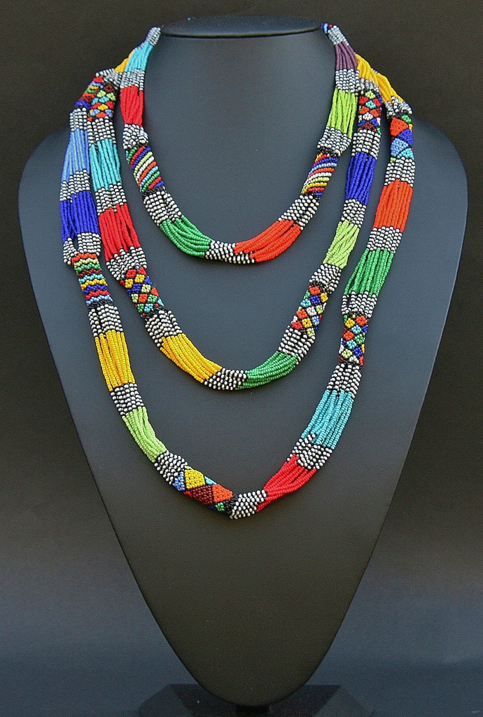 African Necklace Tribal Design Multi-strand Vivid Multi-colors - Cultures International From Africa To Your Home