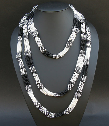 African Necklace Tribal Design Multi-strand Black White - Cultures International From Africa To Your Home