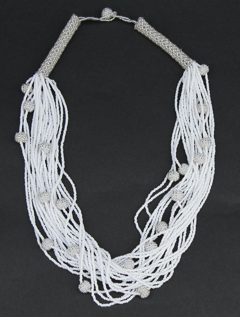 African White Seed Bead Necklace Woven Crystal White Beads - Cultures International From Africa To Your Home