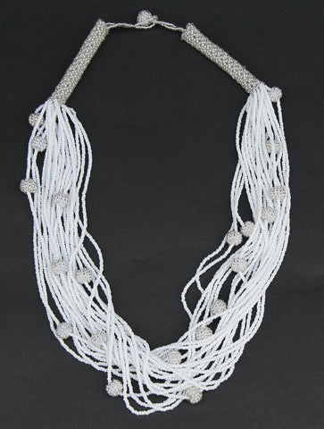 African White Seed Bead Necklace Woven Crystal White Beads - culturesinternational
