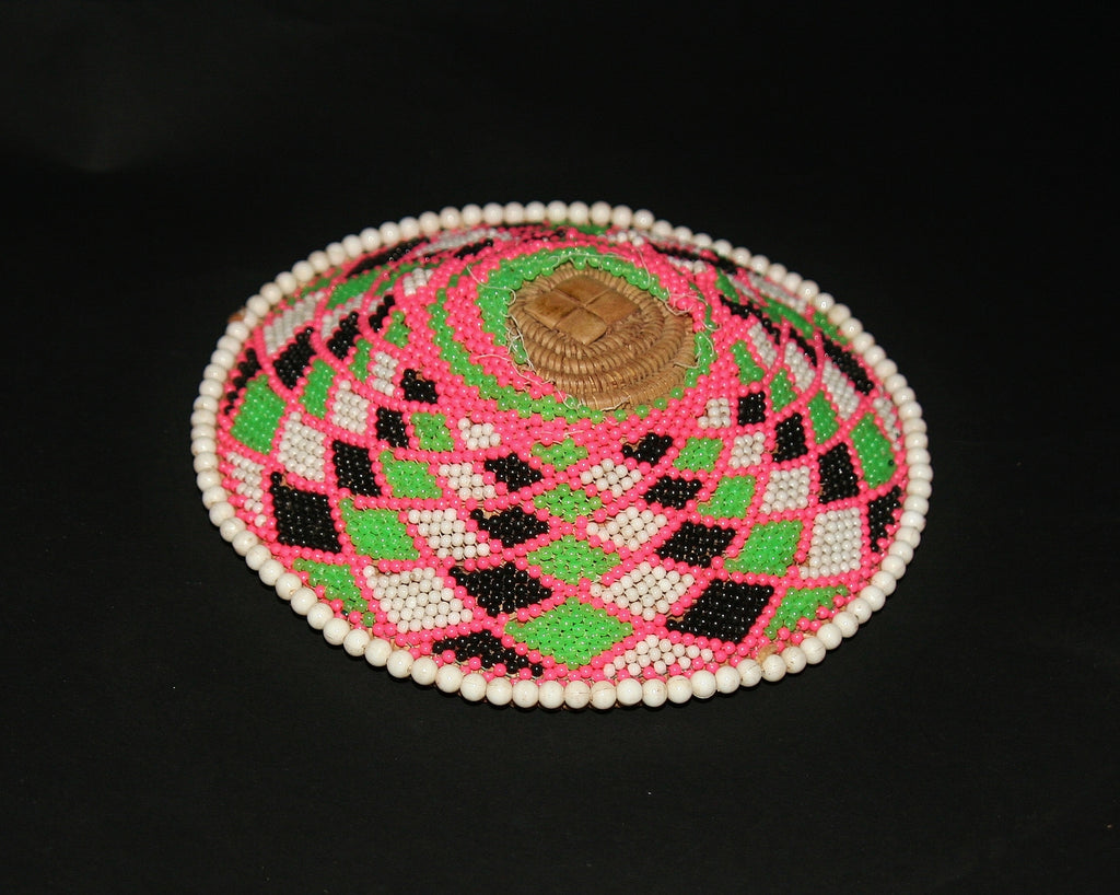 Zulu Imbenge Beer Pot Cover/Lid Beaded - culturesinternational  - 1