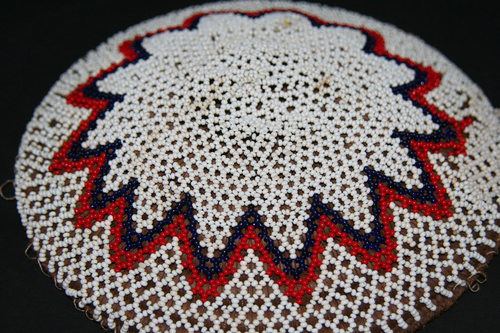 Zulu Imbenge Beer Pot Cover/Lid White  Black Red Lace Beading - Cultures International From Africa To Your Home