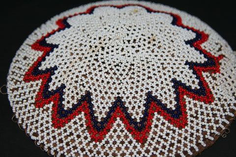 Zulu Imbenge Beer Pot Cover/Lid White  Black Red Lace Beading - culturesinternational  - 1