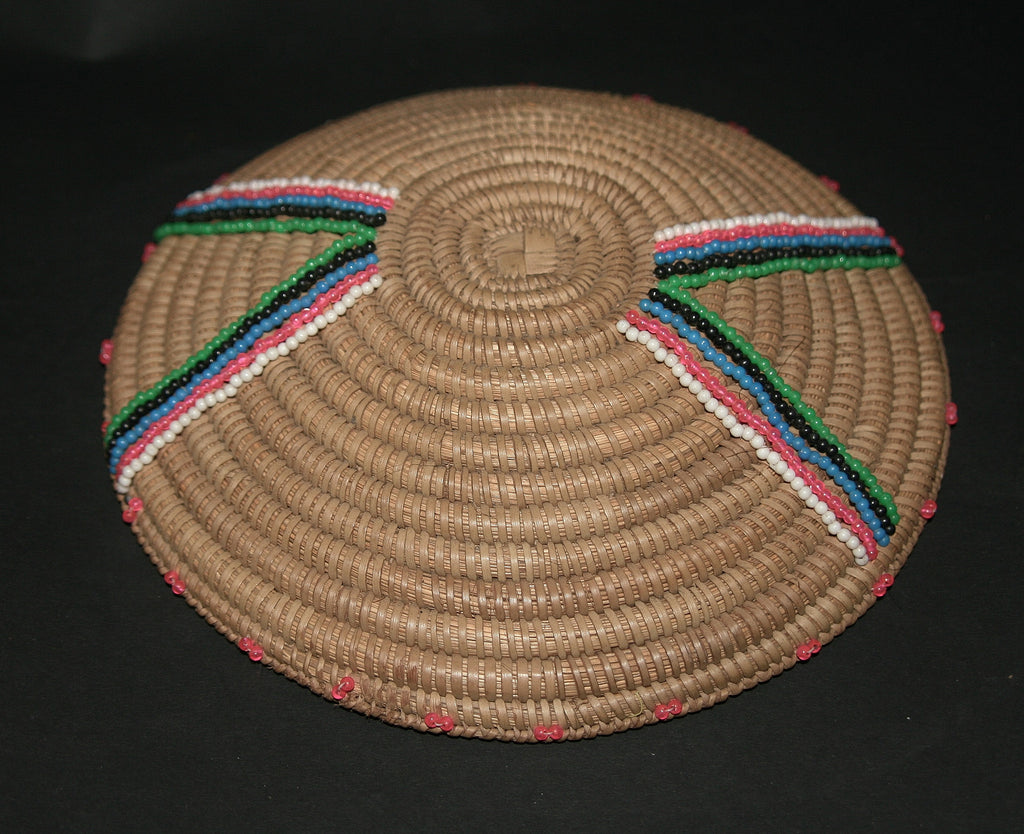 Zulu Imbenge Beer Pot Cover/Lid Woven Coiled Grass Beading - Cultures International From Africa To Your Home