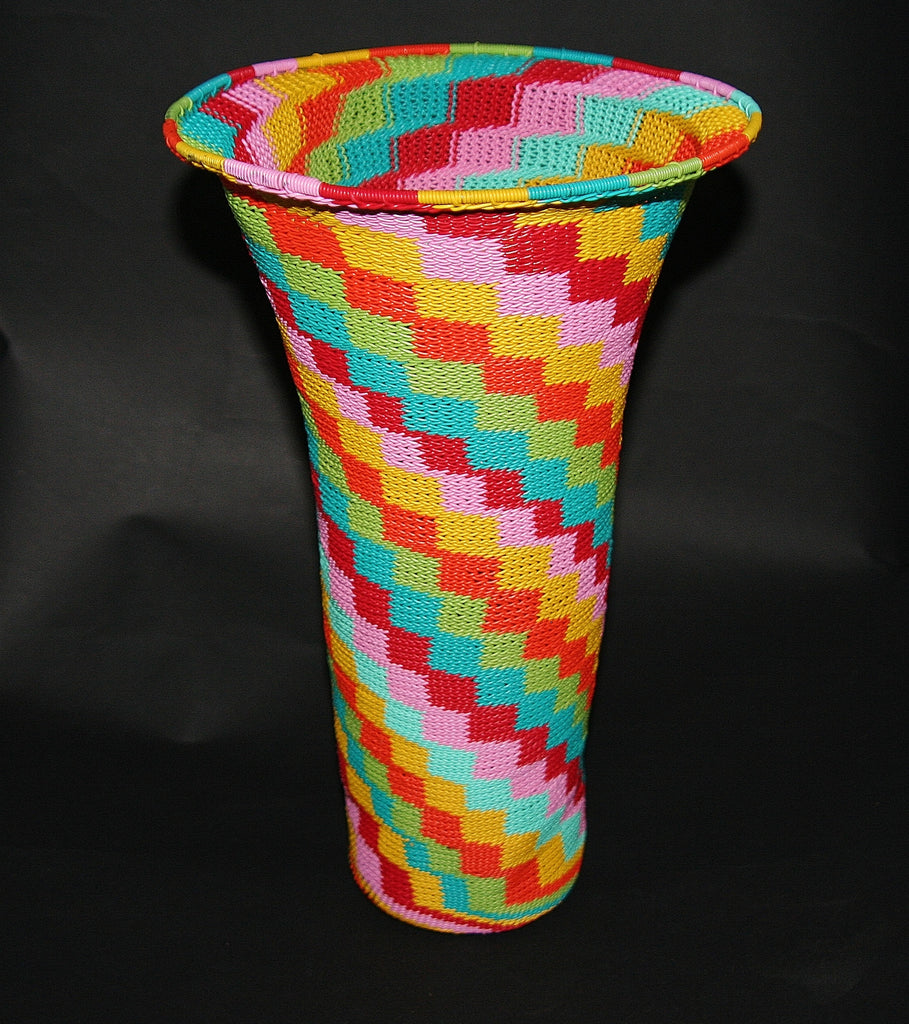 "African Telephone Wire Vase -  Candy Colors - 12.25"" H - Cultures International From Africa To Your Home"