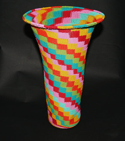 "African Telephone Wire Vase -  Candy Colors - 12.25"" H"