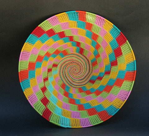 "African Telephone Wire Bowl Candy Colors - 14"" D X 4""H"