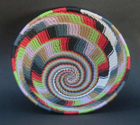 "African Telephone Wire Bowl Multi Color  7"" D X 3"" H"