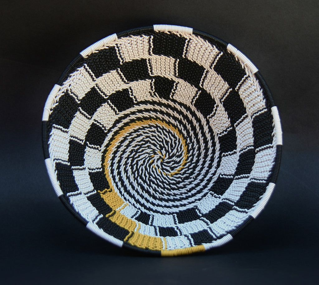 "Telephone Wire Bowl Black White Yellow  6.5 D X 3"" H - culturesinternational  - 1"