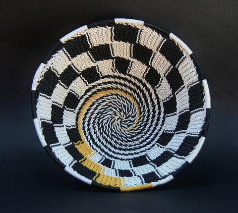 "Telephone Wire Bowl Black White Yellow  6.5 D X 3"" H"