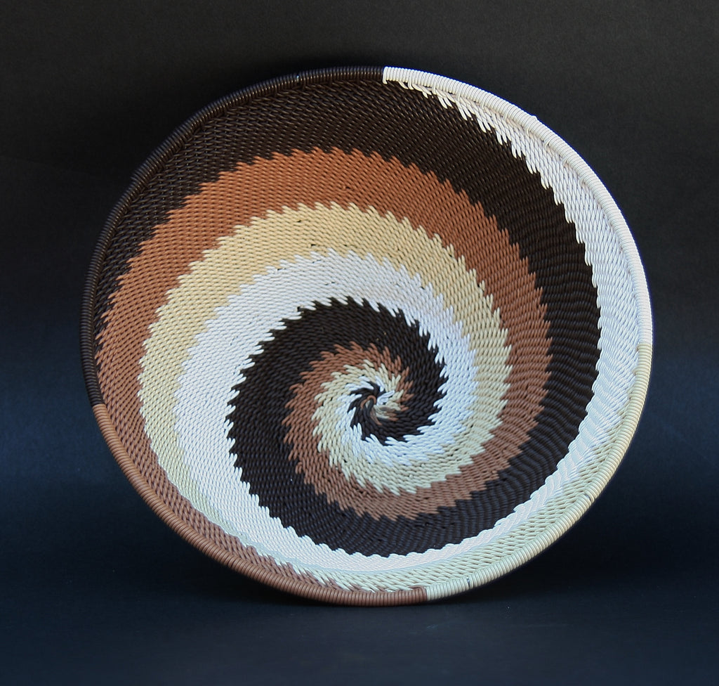 "Telephone Wire Bowl Dark Chocolate Cream White Swirls  6.75"" D X 3"" H - Cultures International From Africa To Your Home"