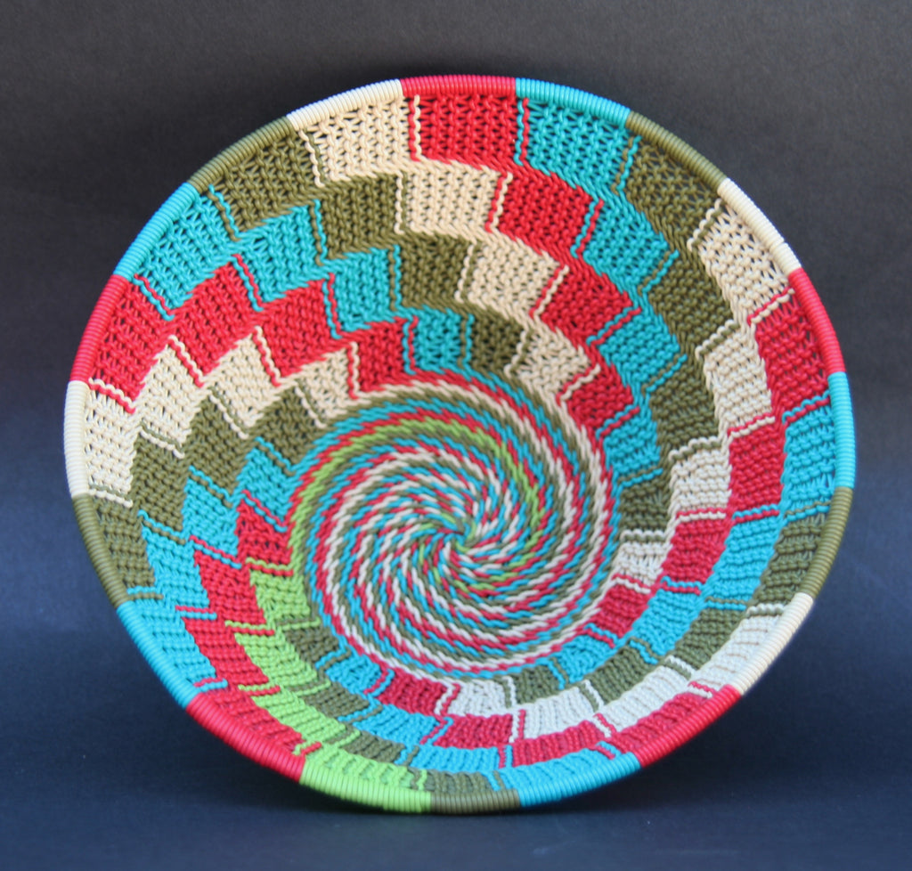 "Telephone Wire Bowl Red Green White Turquoise 6.5""D X 3""H - culturesinternational  - 1"