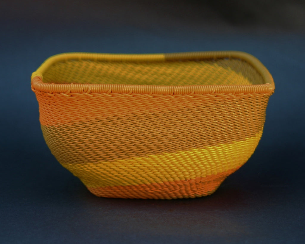 "Telephone Wire Bowl Square Orange Yellow Green 5"" Sq X 2.75""H - Cultures International From Africa To Your Home"