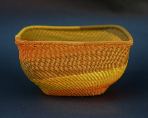 "Telephone Wire Bowl Square Orange Yellow Green 5"" Sq X 2.75""H"