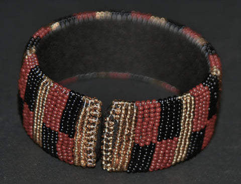 African Zulu Beaded Gold Black Brown Cuff - culturesinternational  - 1