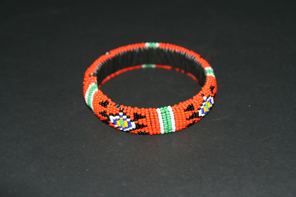 African Zulu Beaded Orange Cuff Bracelet - Cultures International From Africa To Your Home