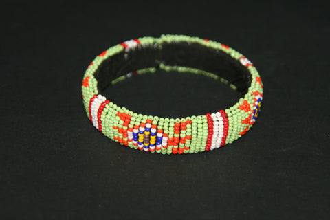 African Zulu Beaded Green Red Cuff Bracelet - culturesinternational  - 1