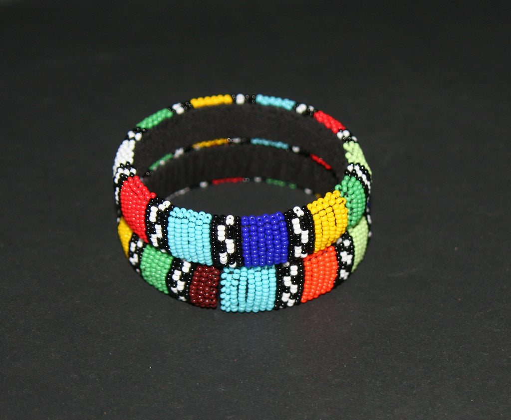 African Zulu Beaded Multicolor Stripe Cuff Bracelet - Cultures International From Africa To Your Home