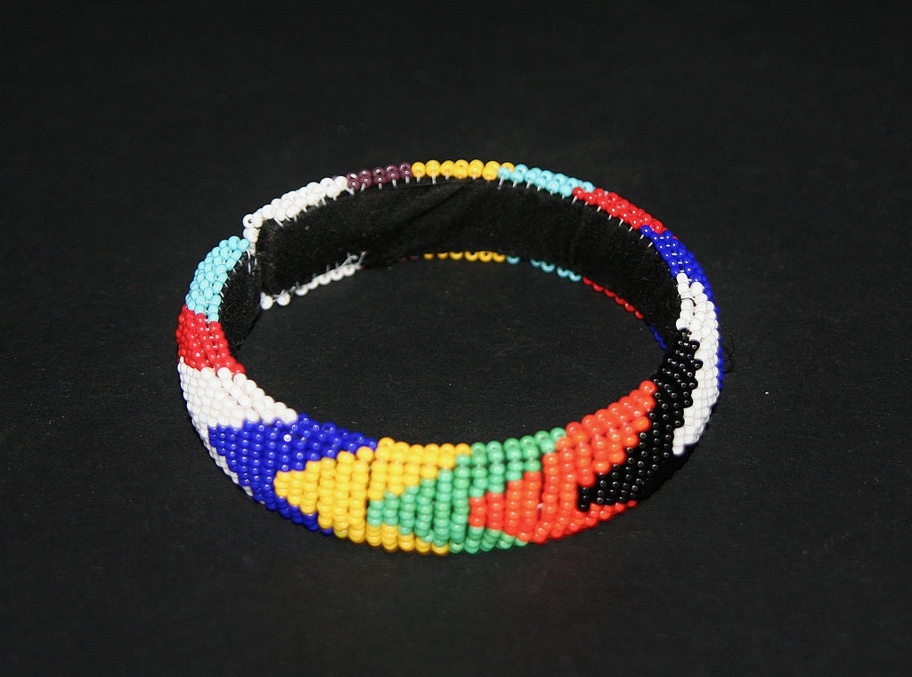 African Zulu Beaded Multicolor Cuff Bracelet - Cultures International From Africa To Your Home