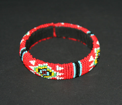 African Zulu Beaded Red Cuff Bracelet - culturesinternational  - 1