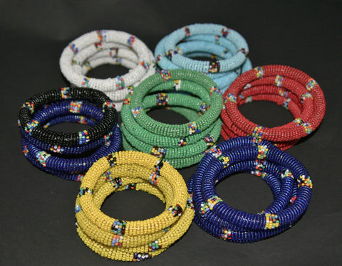 African Maasai Tribal Bead Bangle Multiple Colors Kenya - culturesinternational  - 1