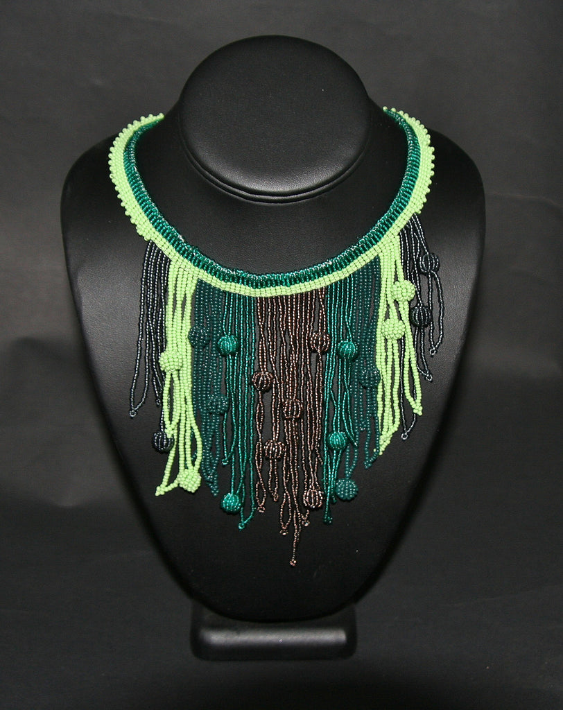 African Choker Beaded Cascade Necklace Green & Copper - Cultures International From Africa To Your Home