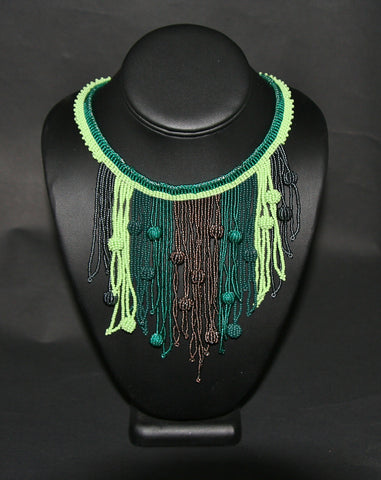 African Choker Beaded Cascade Necklace Green & Copper - culturesinternational  - 1