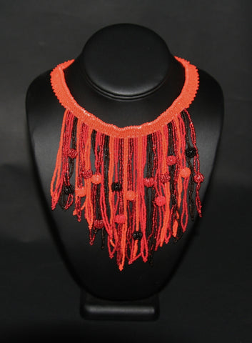 African Choker Beaded Cascade Necklace Orange Burgundy Red Beads - culturesinternational  - 1