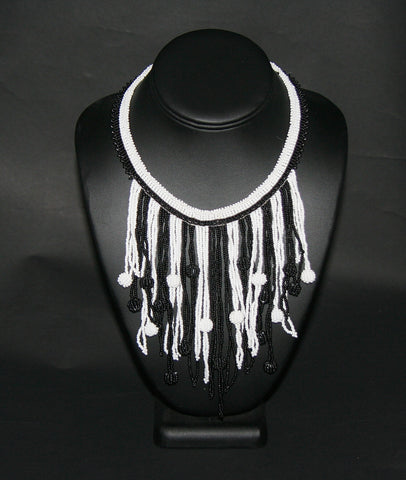 African Choker Beaded Cascade Necklace Black White - culturesinternational  - 1