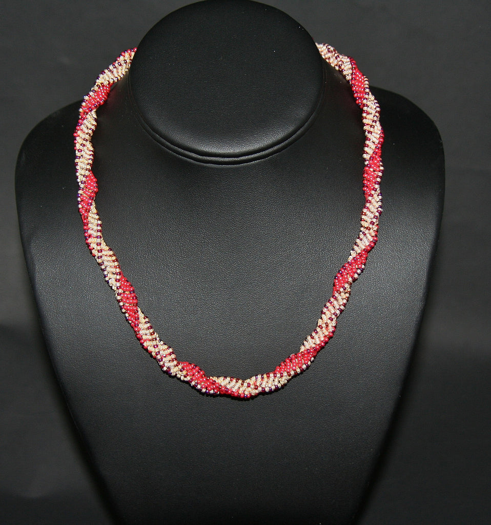 African Bead Spiral Twist Necklace Orange Mango Pearl and Burgundy Colors - culturesinternational  - 1