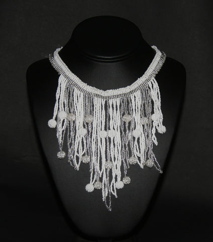 African Choker Beaded Cascade Necklace White Silver - culturesinternational  - 1