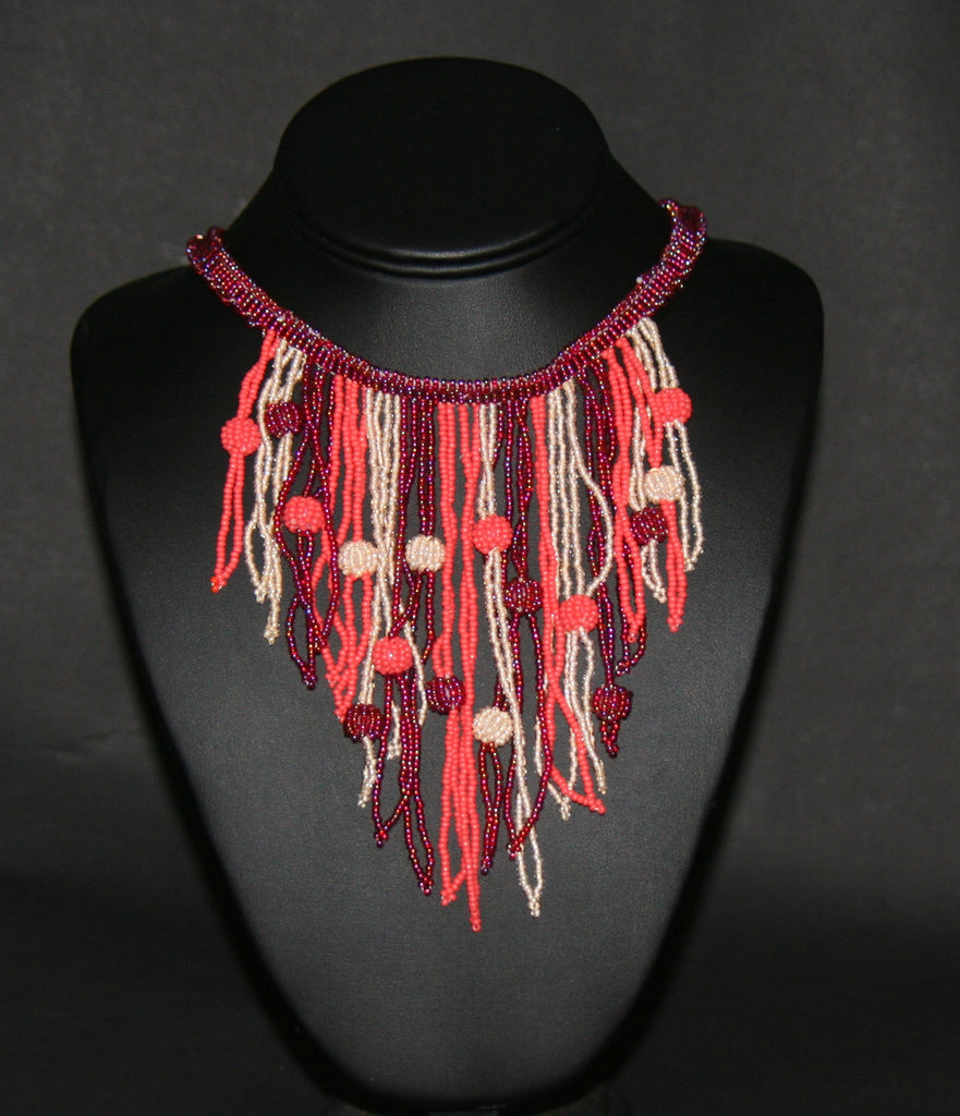 African Choker Beaded Cascade Necklace Burgundy Orange White Beads - Cultures International From Africa To Your Home