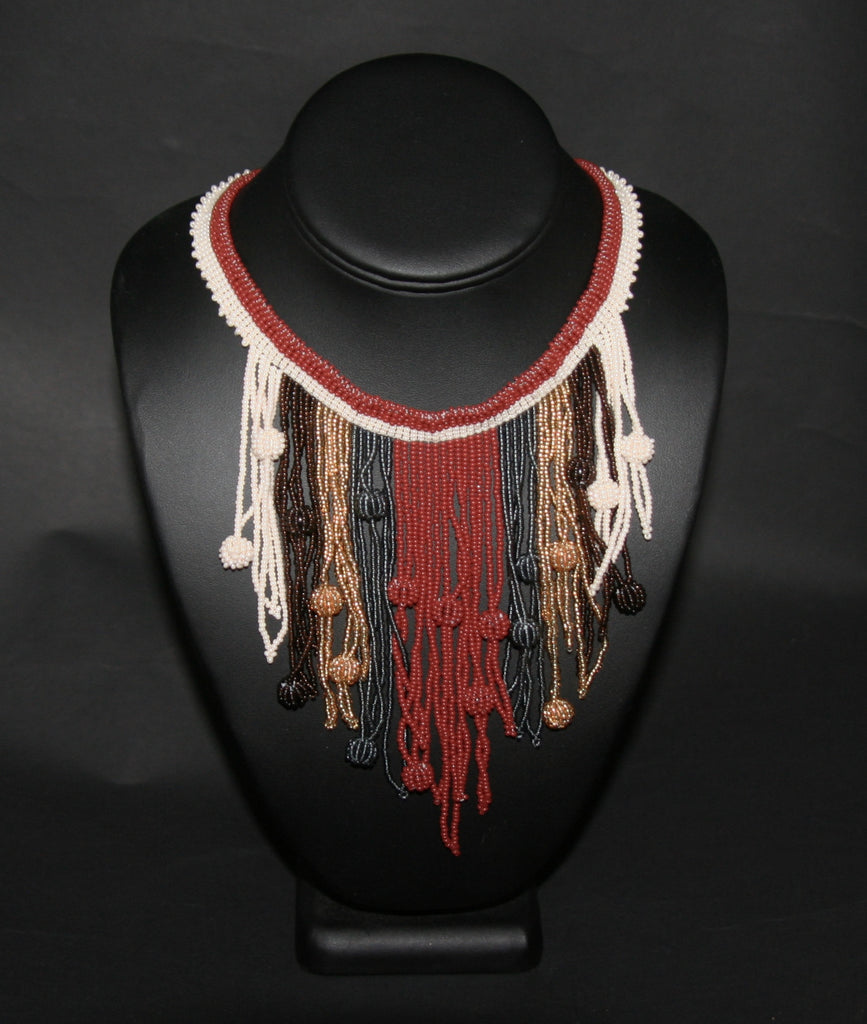 African Choker Beaded Cascade Necklace Brown White Gray Gold Beads - Cultures International From Africa To Your Home