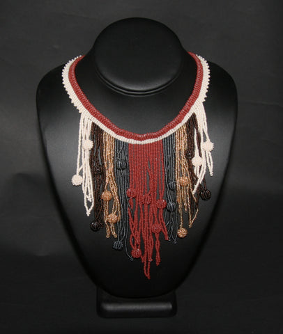 African Choker Beaded Cascade Necklace Brown White Gray Gold Beads - culturesinternational  - 1
