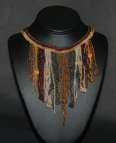 African Choker Beaded Cascade Necklace Brown Gold Copper Gray Beads - culturesinternational  - 1