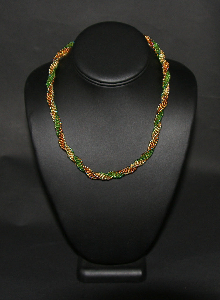 African Bead Spiral Twist Necklace Green Gold Copper - Cultures International From Africa To Your Home