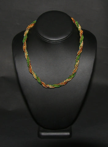 African Bead Spiral Twist Necklace Green Gold Copper - culturesinternational  - 1