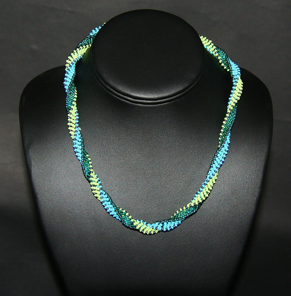 African Bead Spiral Twist Necklace Turquoise Blue Green - culturesinternational  - 1