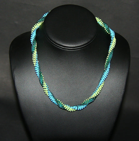 African Bead Spiral Twist Necklace Turquoise Blue Green - Cultures International From Africa To Your Home