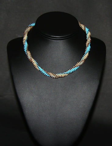 African Bead Spiral Twist Necklace Blue White Brown Colors - Cultures International From Africa To Your Home