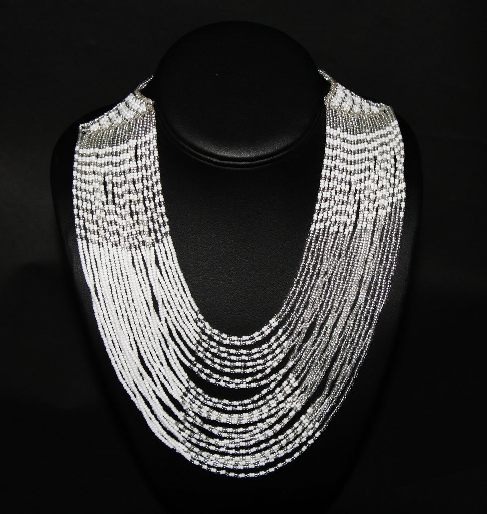 African Tribal Beaded White Necklace Waterfall Necklace - Cultures International From Africa To Your Home