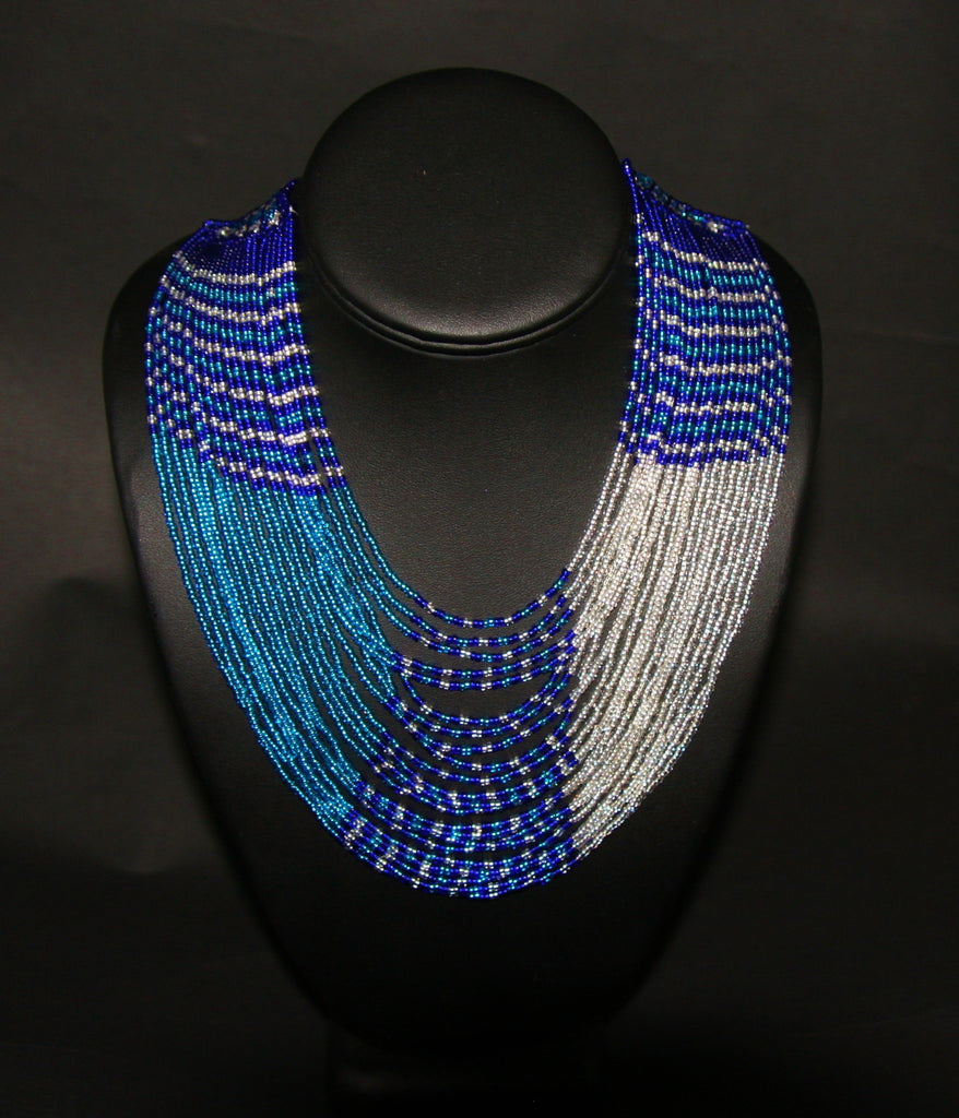 African Tribal Beaded Waterfall Necklace Blue Turquoise Silver - Cultures International From Africa To Your Home