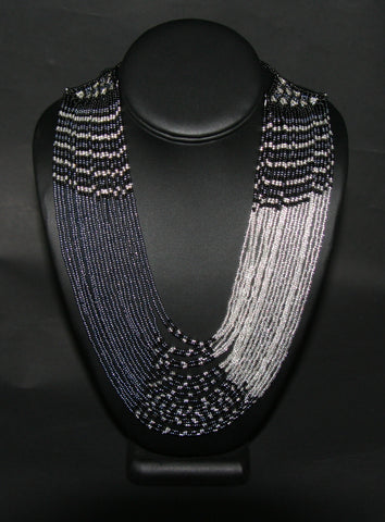 African Beaded Waterfall Necklace Graphite Black Silver Colors Matching Bracelet - culturesinternational  - 1